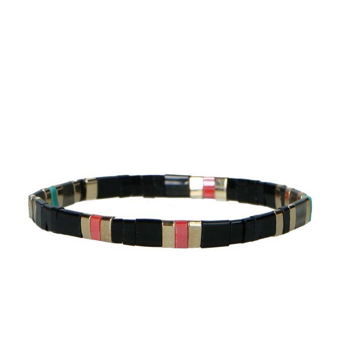 Multicolor armband met platte kralen