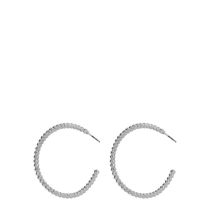 Silberne Creolen mit Kügelchen