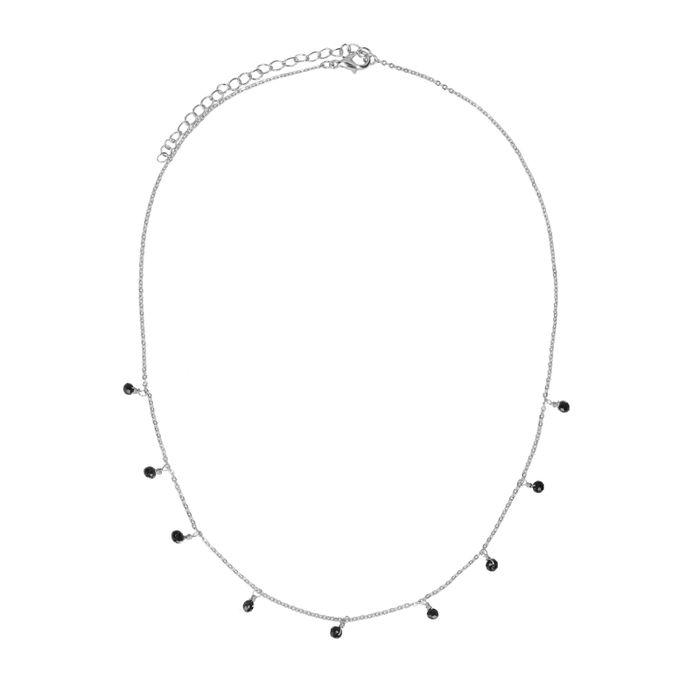 Silberfarbene Kette mit schwarzen Perlen