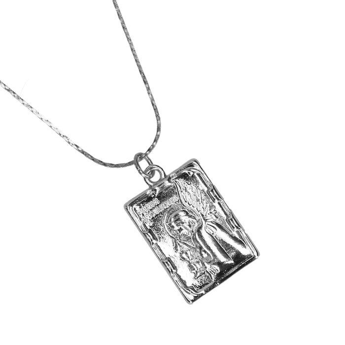 Zilverkleurige ketting met kraaltjes en bedel