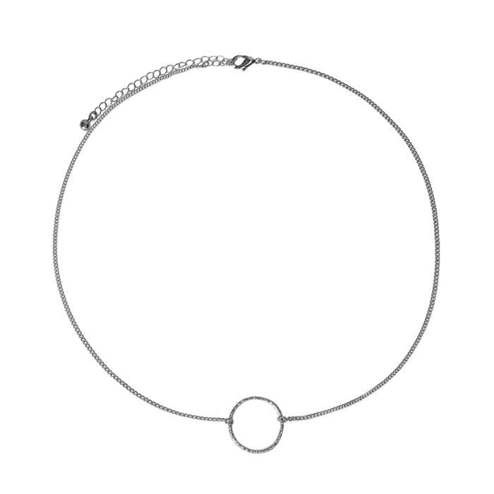 Zilverkleurige ketting met cirkel