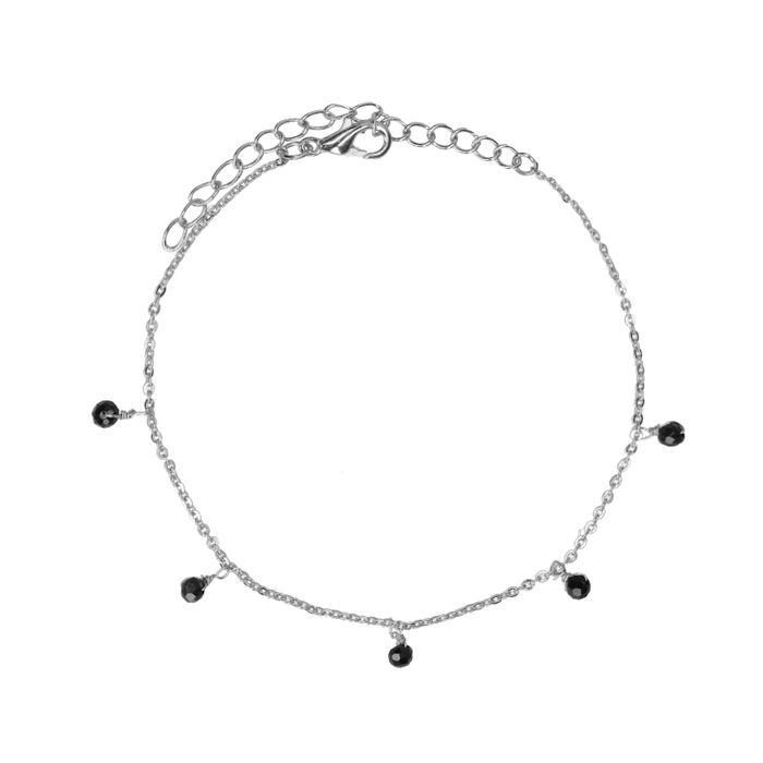 Zilverkleurig armbandje met zwarte kraaltjes