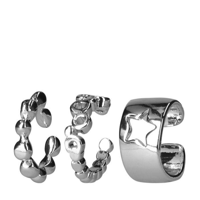 Zilverkleurige ear cuff (set van 3)