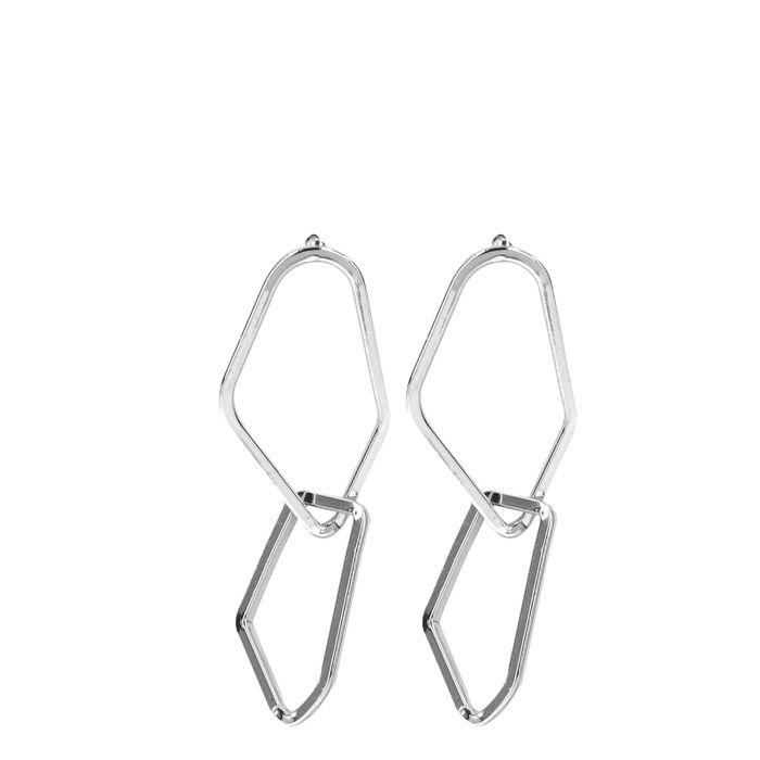 Asymmetrische zilverkleurige oorbellen