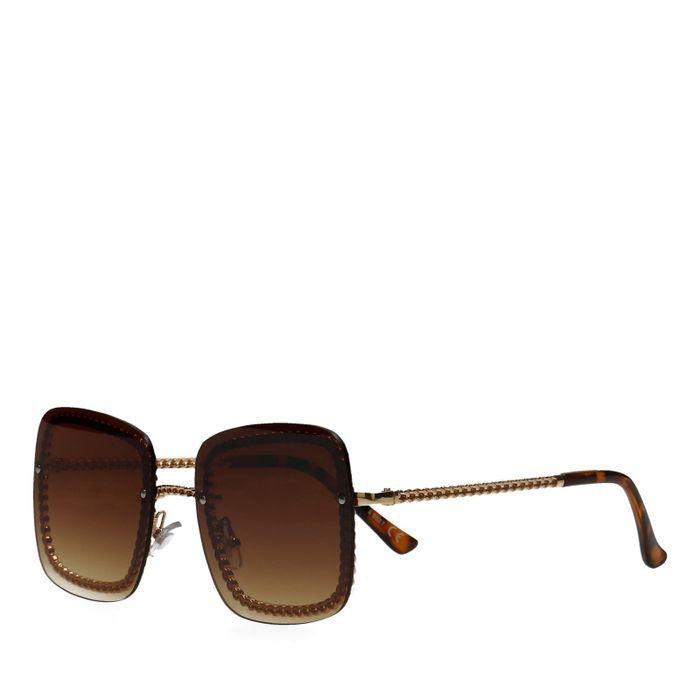 Braune Sonnenbrille mit Kette