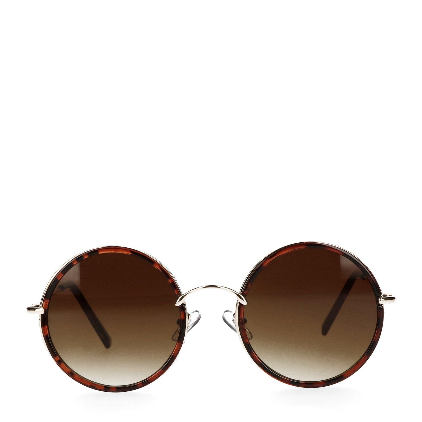 Ronde retro zonnebril bruin