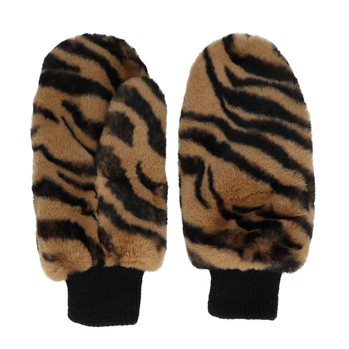 Wanten van imitatiebont met tijgerprint