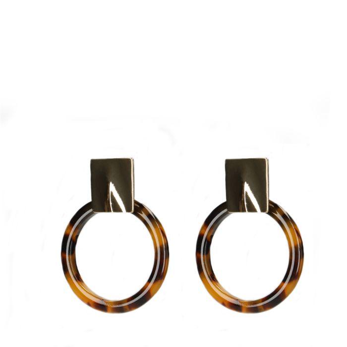 Boucles d'oreille avec anneau effet écaille de tortue - doré