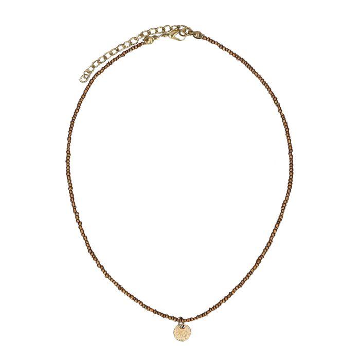 Collier avec perles marron et pièce dorée