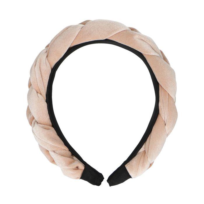 Bandeau velours tressé - rose