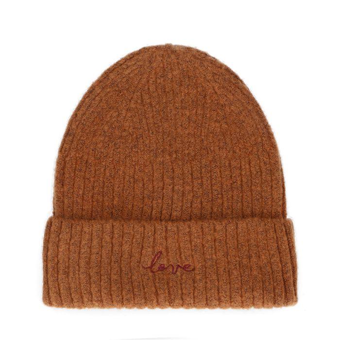 Bonnet avec broderie love - marron
