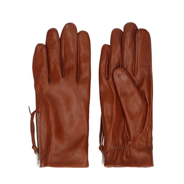 Gants en cuir avec fermeture éclair - marron