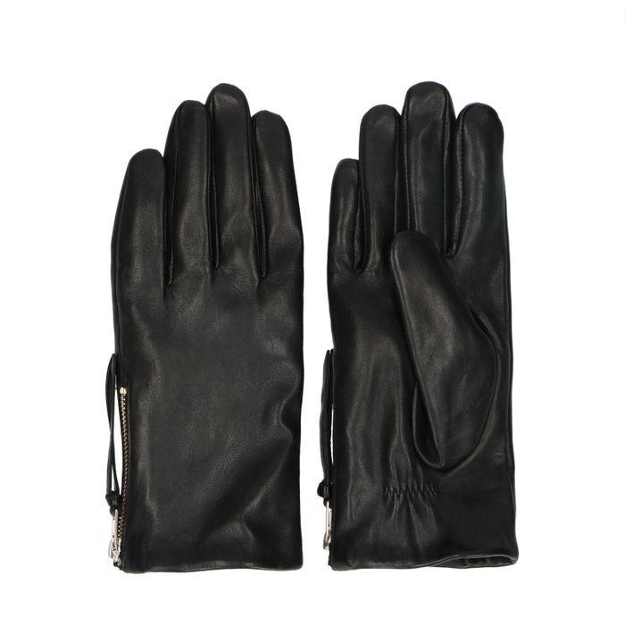 Gants en cuir avec fermeture éclair - noir