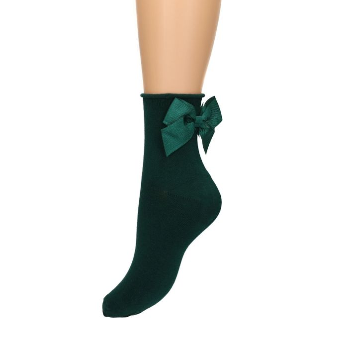 Dunkelgrüne Socken mit Schleife