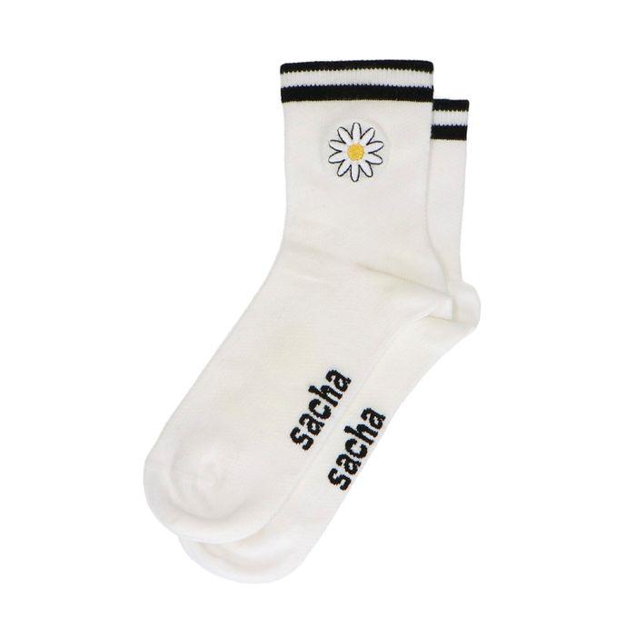 Witte sokken met madeliefje