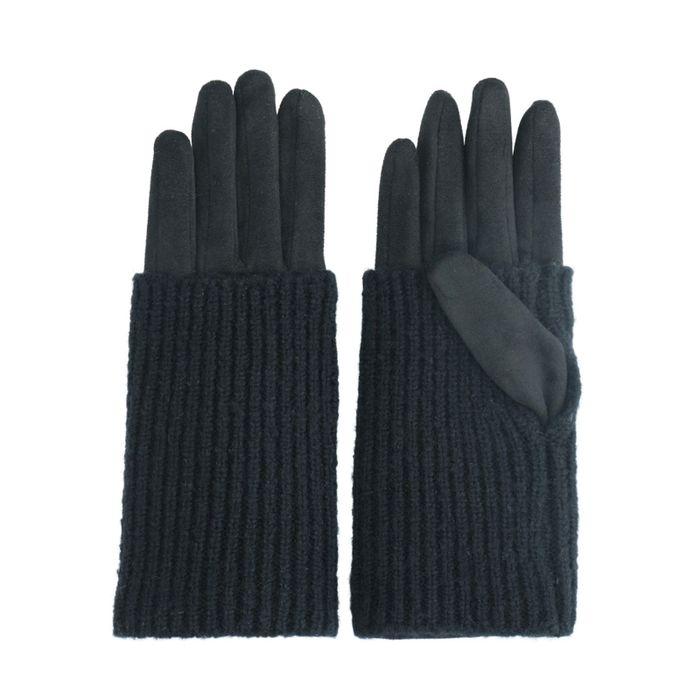 Zwarte handschoenen met knitted