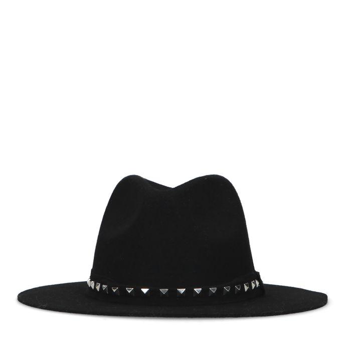 Zwarte wollen hoed met studs