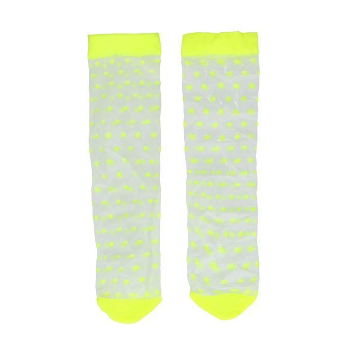 Gele doorzichtige sokken met stipjes