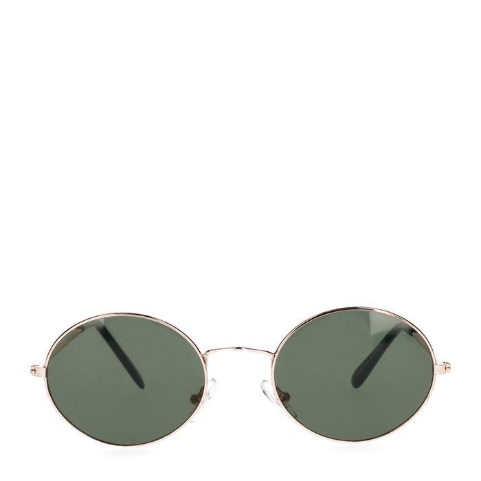 Goldene Sonnenbrille mit kleinen ovalen Gläsern