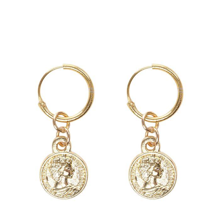 Goldfarbene Ohrringe mit Münz-Anhängern