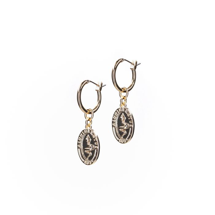 LUZ goldene Ohrringe mit Schlangen-Anhänger