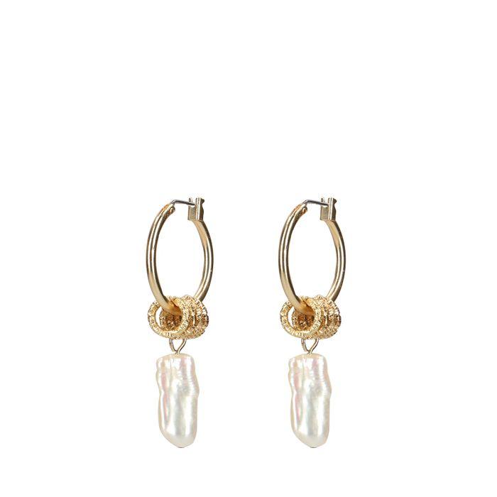Goldfarbene Ohrhänger mit Perlen