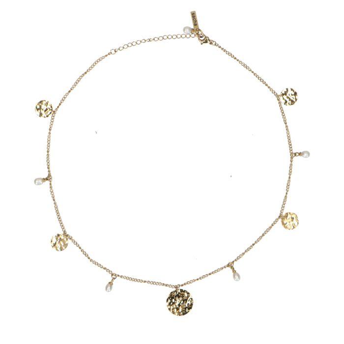 Goldene Kette mit Münz-Anhängern und Perlen