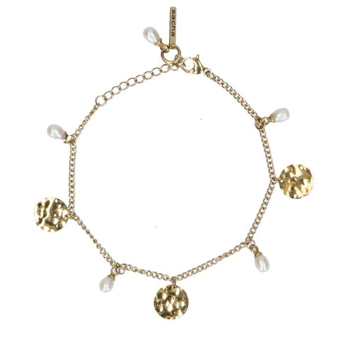 Goldenes Armband mit Münz-Anhängern und Perlen