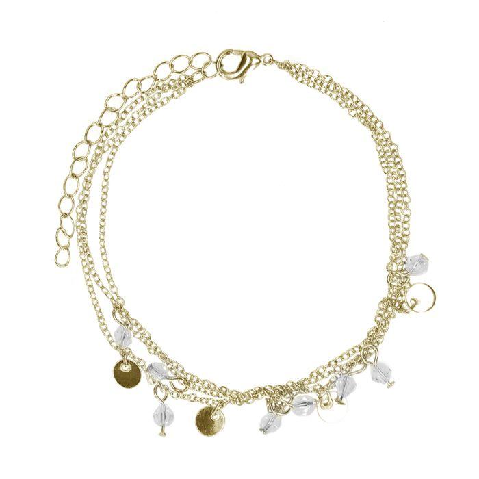 Goldenes Fußkettchen mit Münzen und Perlen