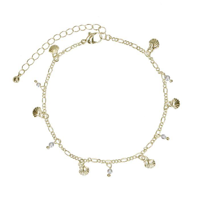 Goldenes Fußkettchen mit Muscheln und Perlen