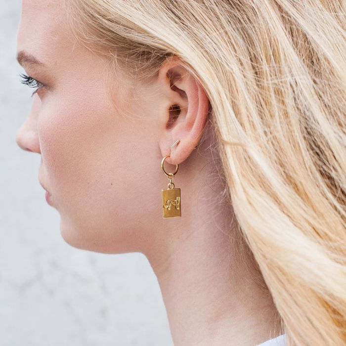 Goudkleurige oorbellen met panters