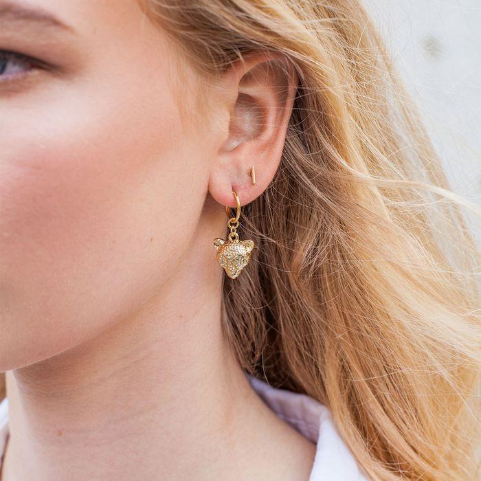 Goudkleurige oorbellen met tijgerkop