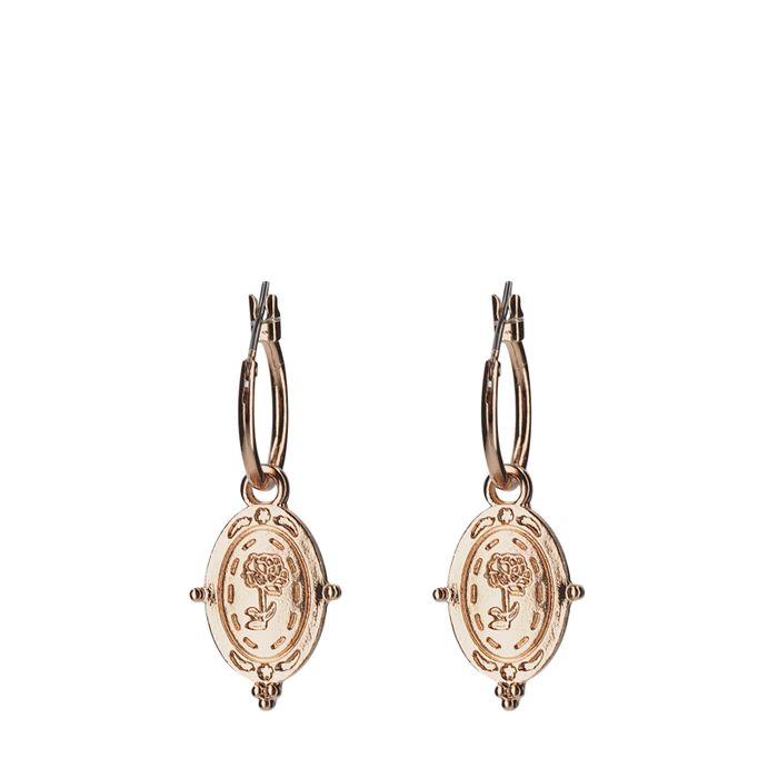 Rosekleurige oorringen met ovale hangers