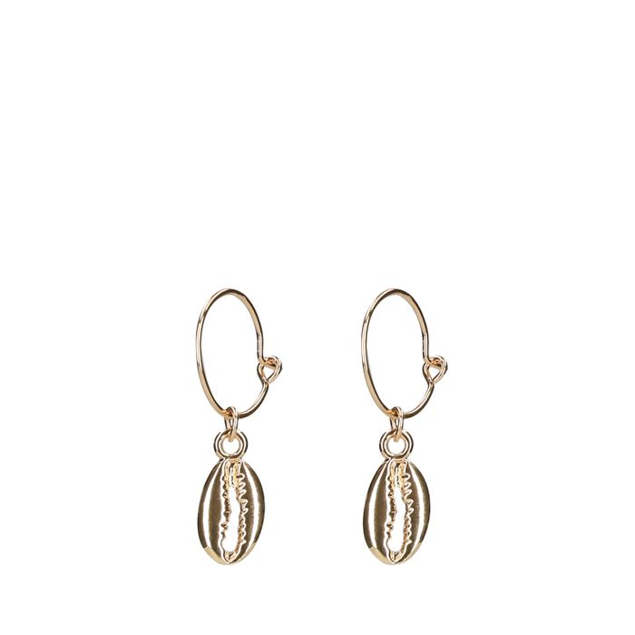 Goudkleurige oorbellen met schelpen