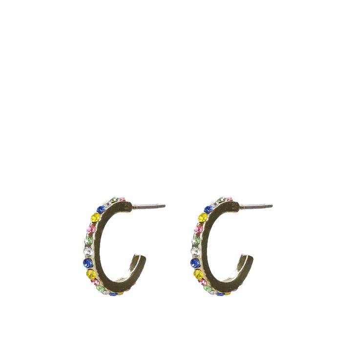 Goudkleurige oorringen met gekleurde steentjes