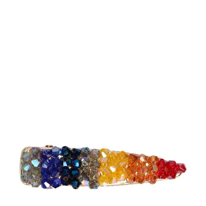 Goudkleurige haarclip met gekleurde steentjes