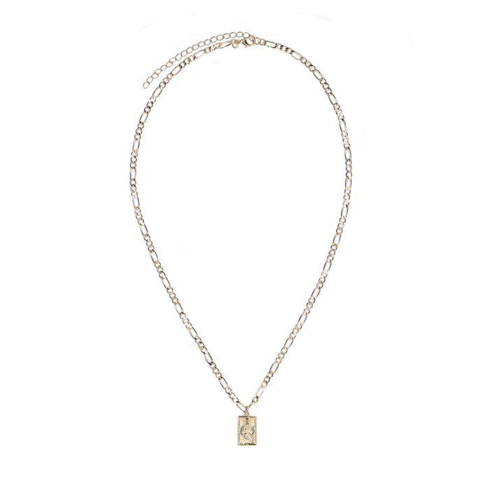 Goudkleurige ketting met vierkante pendant