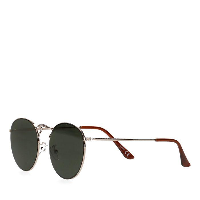 Retro zwarte ronde zonnebril