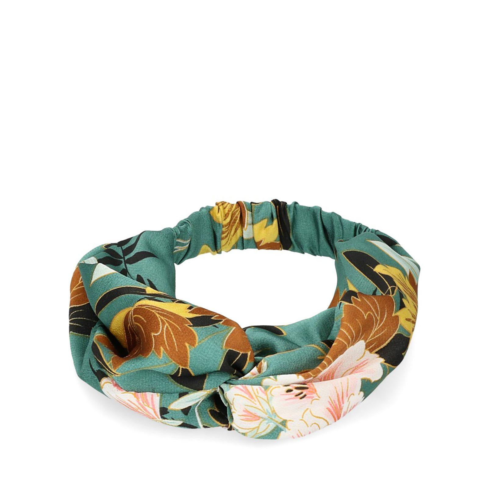 Groene haarband met bloemen