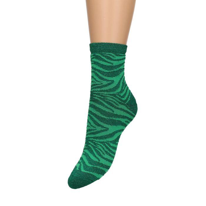 Grüne Glitzer-Socken mit Zebramuster