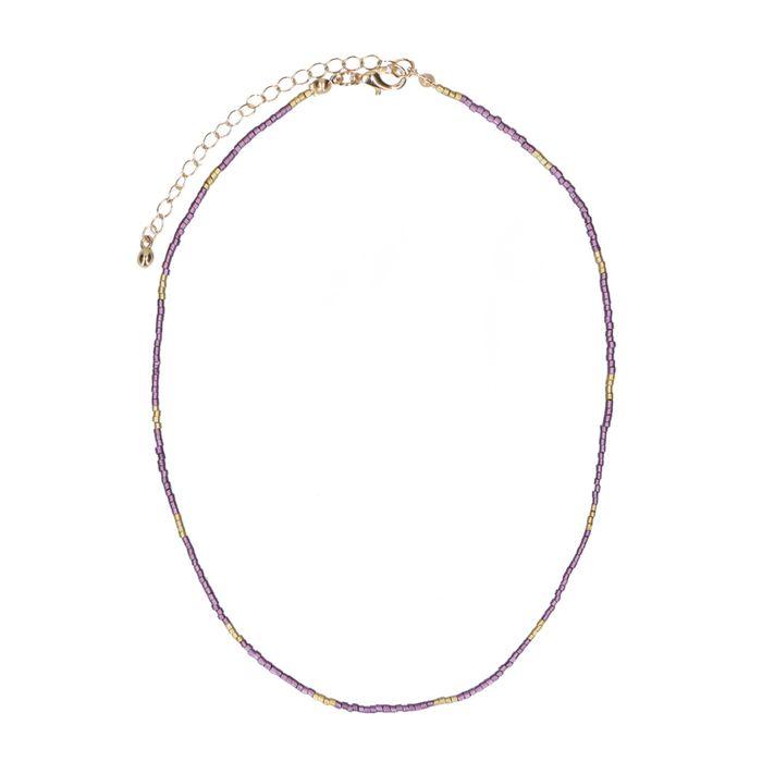 Lilafarbene Kette mit goldenen Perlen