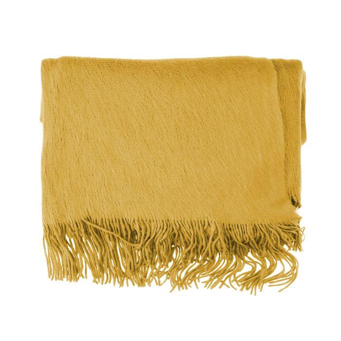Écharpe duveteuse - jaune ocre