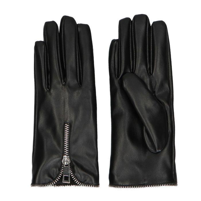 Schwarze Kunstleder-Handschuhe mit Reißverschluss