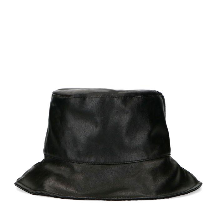Vivian & Rien X Sacha schwarzer Bucket Hat aus Leder
