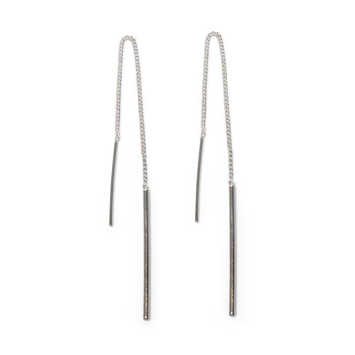 Boucles d'oreille argentées avec barres