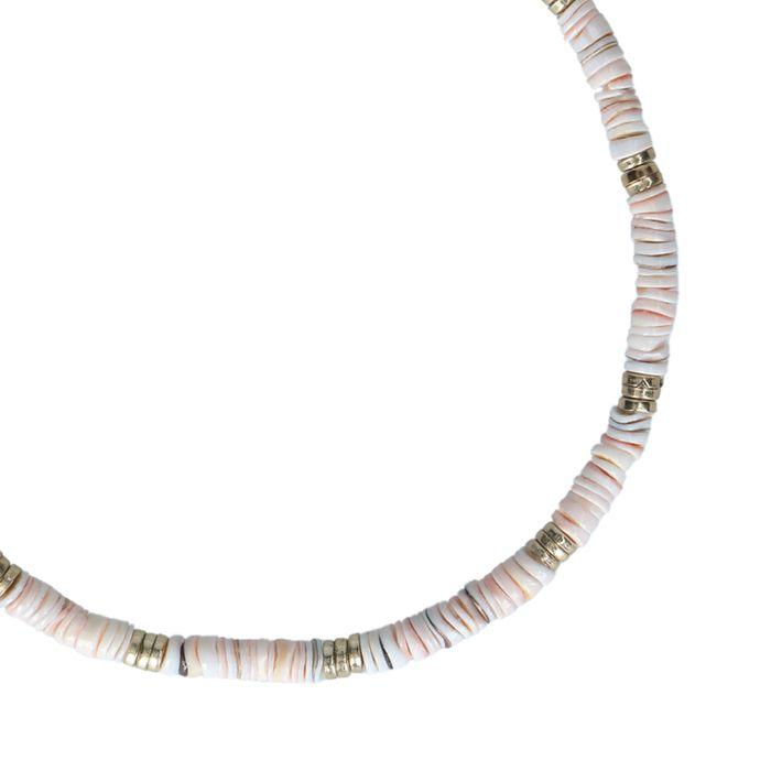Collier avec perles plates - doré