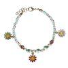 Bracelet multicolore avec marguerites - doré