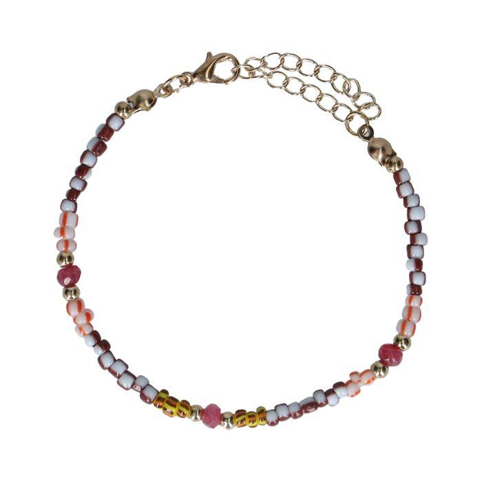 Bracelet avec perles colorées - doré