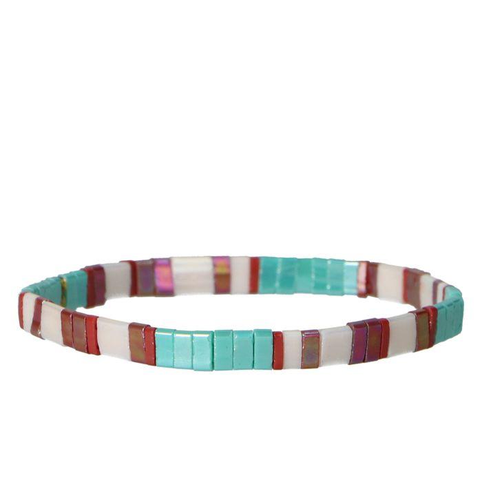 Bracelet avec perles plates - multicolore