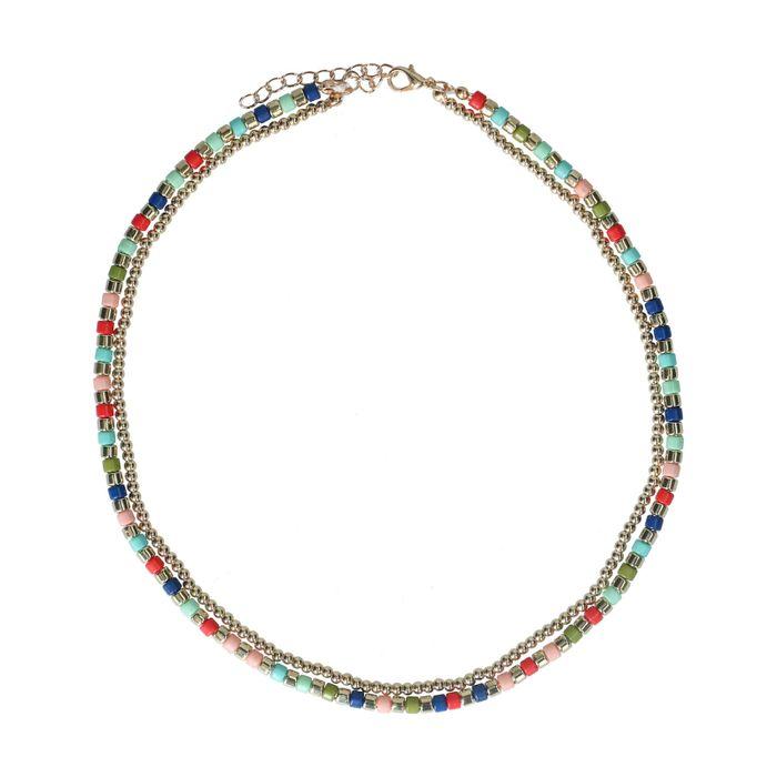 Collier avec perles colorées - doré
